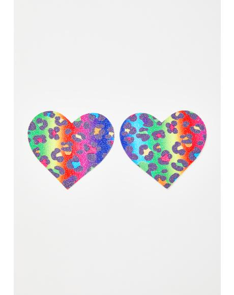 Animal Madness Rainbow Heart Pasties