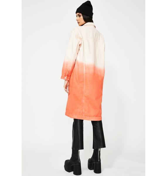 Jaded London Red Ombre Oversized Denim Coat
