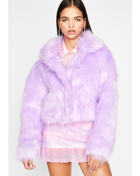 Lilac Doll Life Faux Fur Jacket