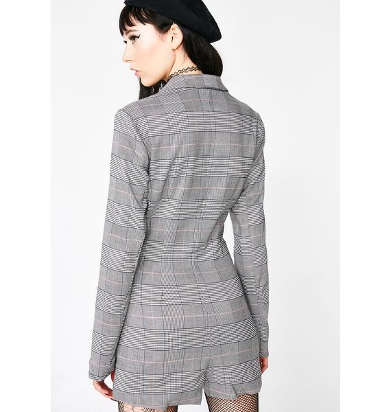 Business Minded Plaid Romper
