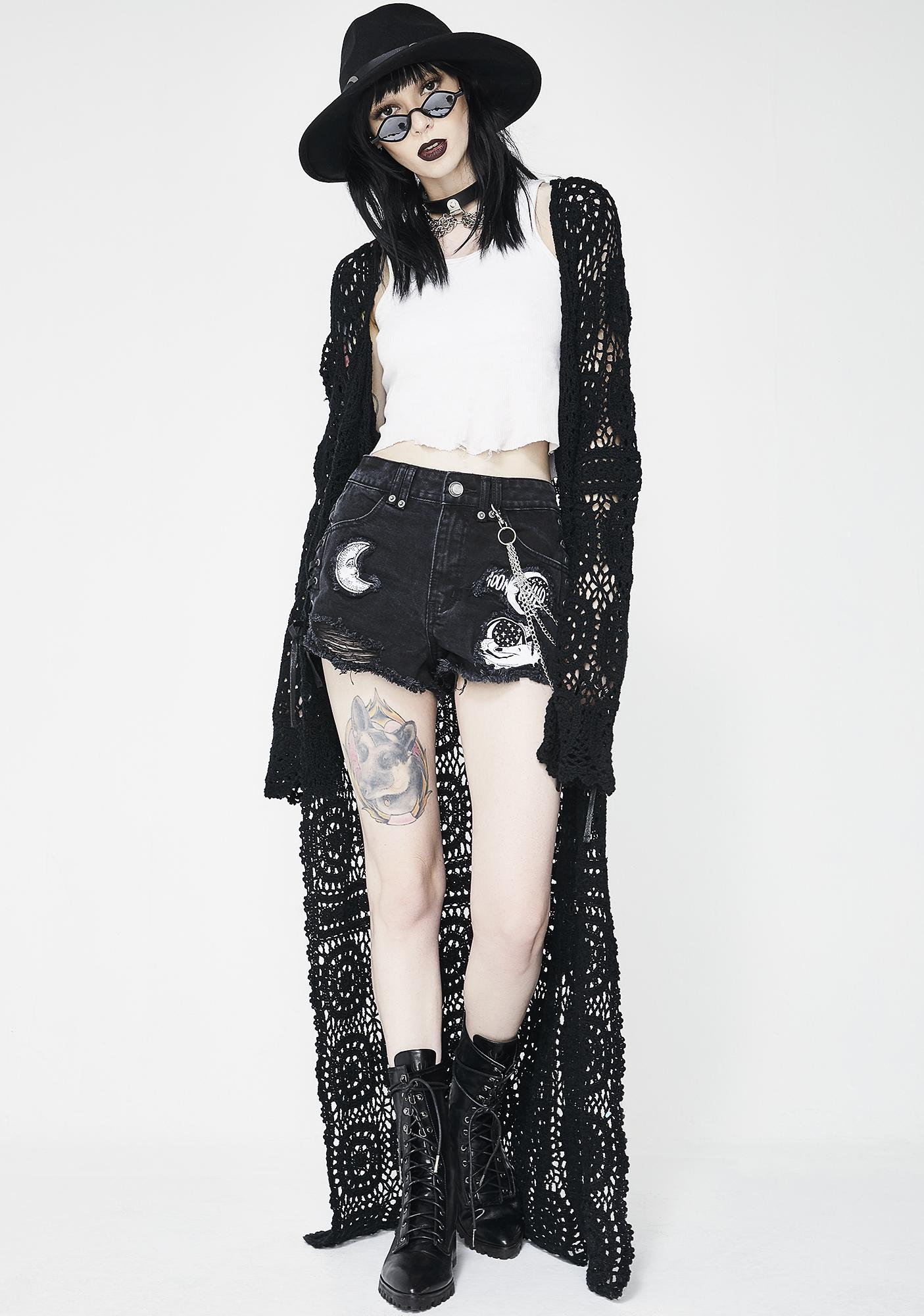 Killstar Many Moons Denim Shorts