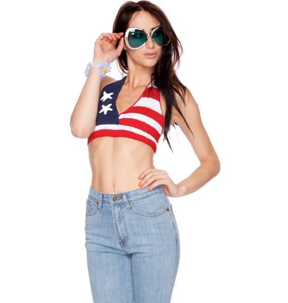 UNIF America Crochet Bikini Top