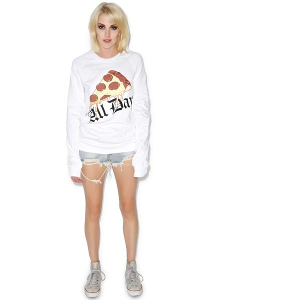 MeYouVersusLife Pizza All Day Crewneck Sweatshirt