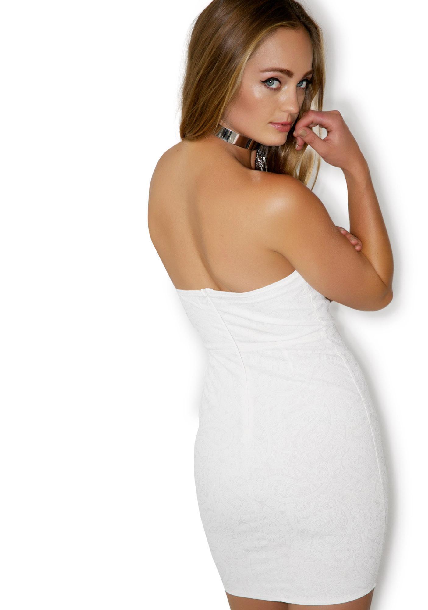 Sweetheart Paisley Knit Tube Dress