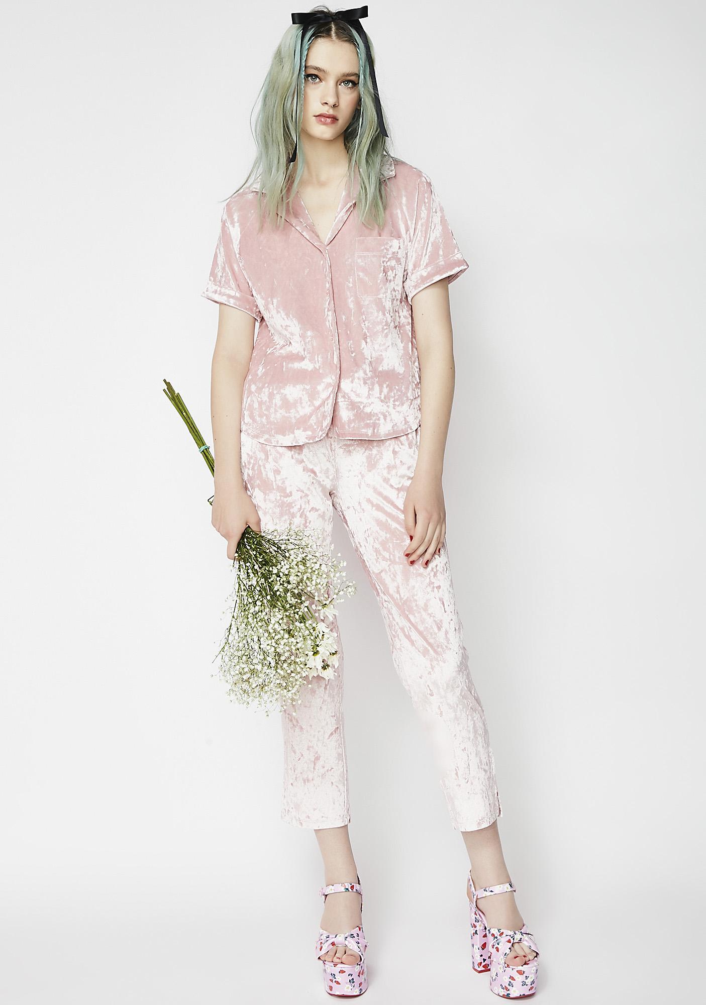 37b5d48906 Crushed Velvet Pink Pajama Set
