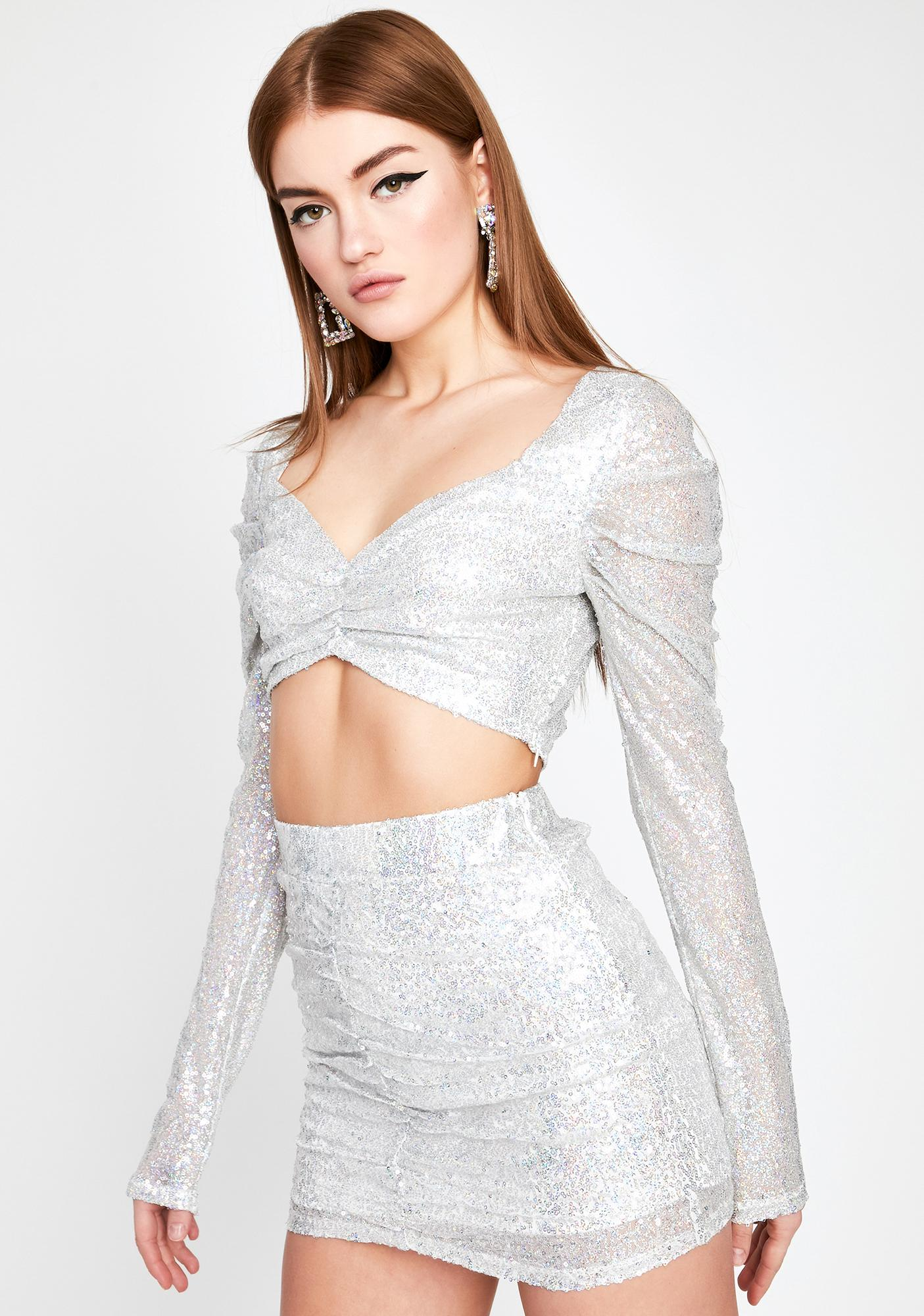 Unlimited Champagne Sequin Top