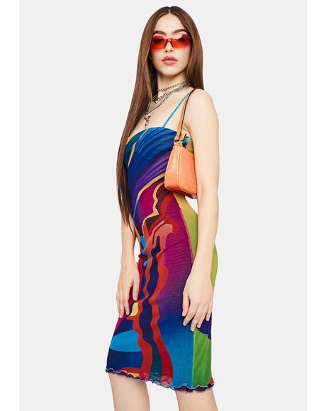 X Heeyajenny 2 Way Mesh Midi Dress