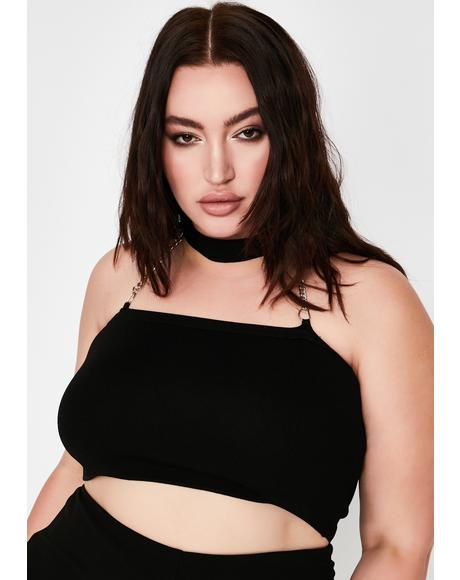 Baddie Let's Buckle Down BB Choker Crop Top