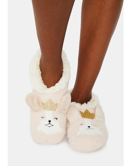 Corgi Critter Plush Lined Slippers