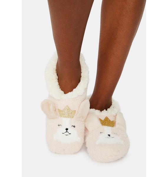 MeMoi Corgi Critter Plush Lined Slippers