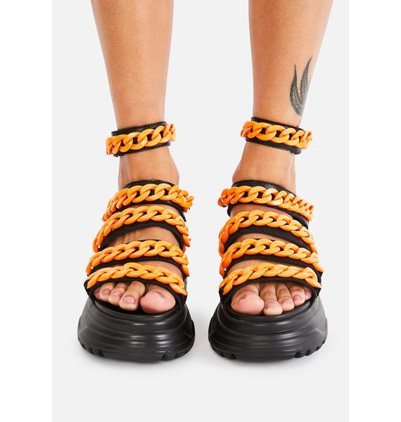 Koi Footwear Orange Strident Chain Gladiator Sandals