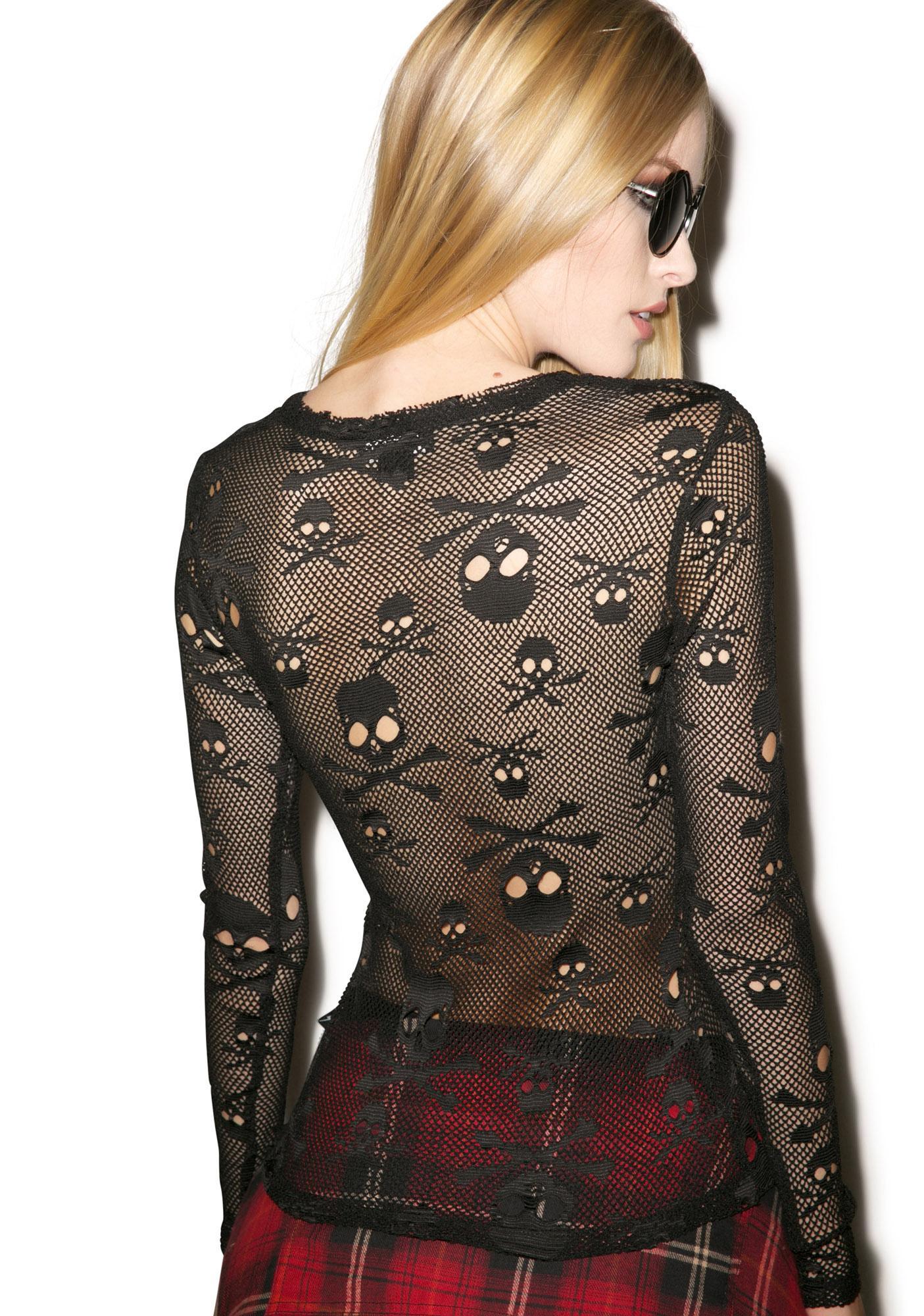 Tripp NYC Holey Net Long Sleeve Shirt