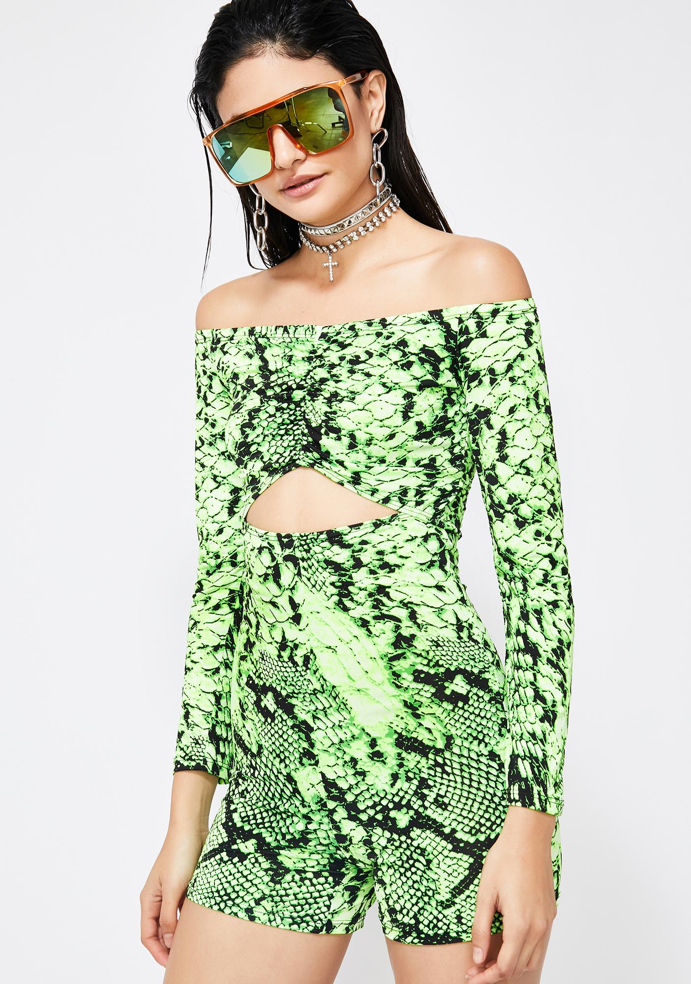 a91be630153e Cut Out Neon Snakeskin Romper Green