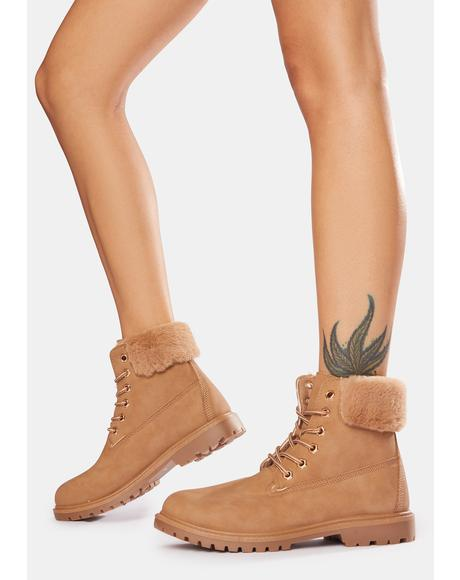 Caramel Stomp The Town Lace-Up Boots
