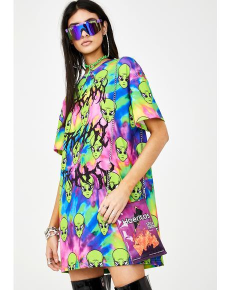 Freaky Alien Tie Dye T-Shirt Dress