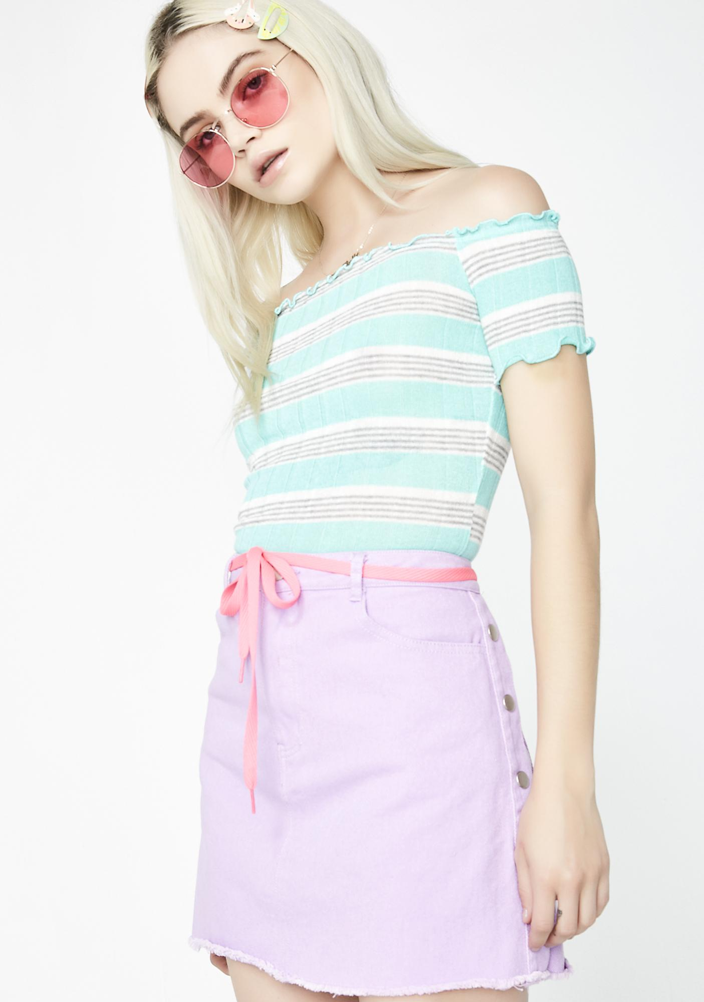 Lavender Let Me Shine Denim Skirt