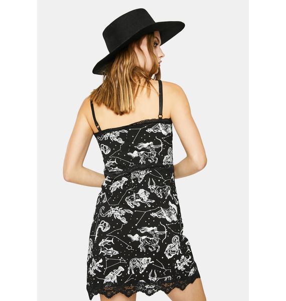 Too Fast Black Signs Of The Zodiac Slip Dress