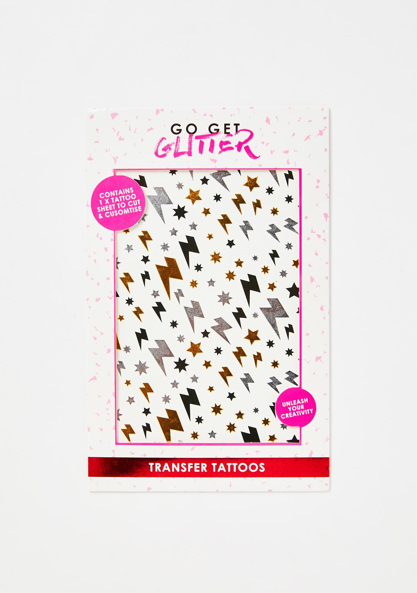 Go Get Glitter Lightning Stars Transfer Tattoos