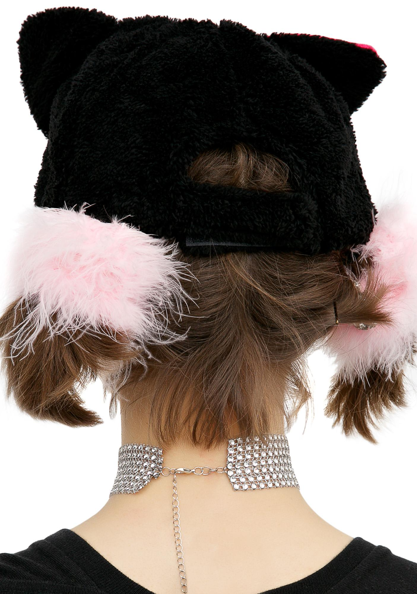 e95085ffe43 Black Cat Fuzzy Baseball Hat