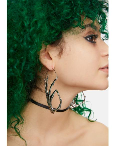 Don't Stress Skeleton Hoop Earrings