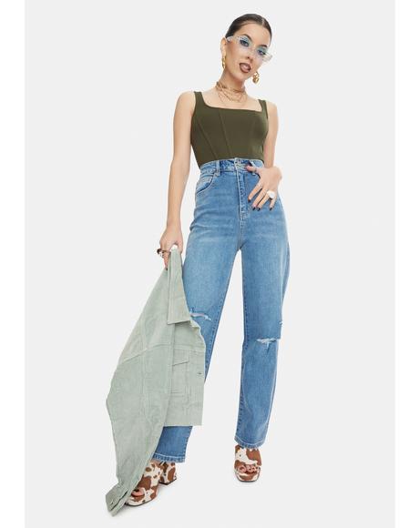 Forever Blue Trash Hi Mum Jeans