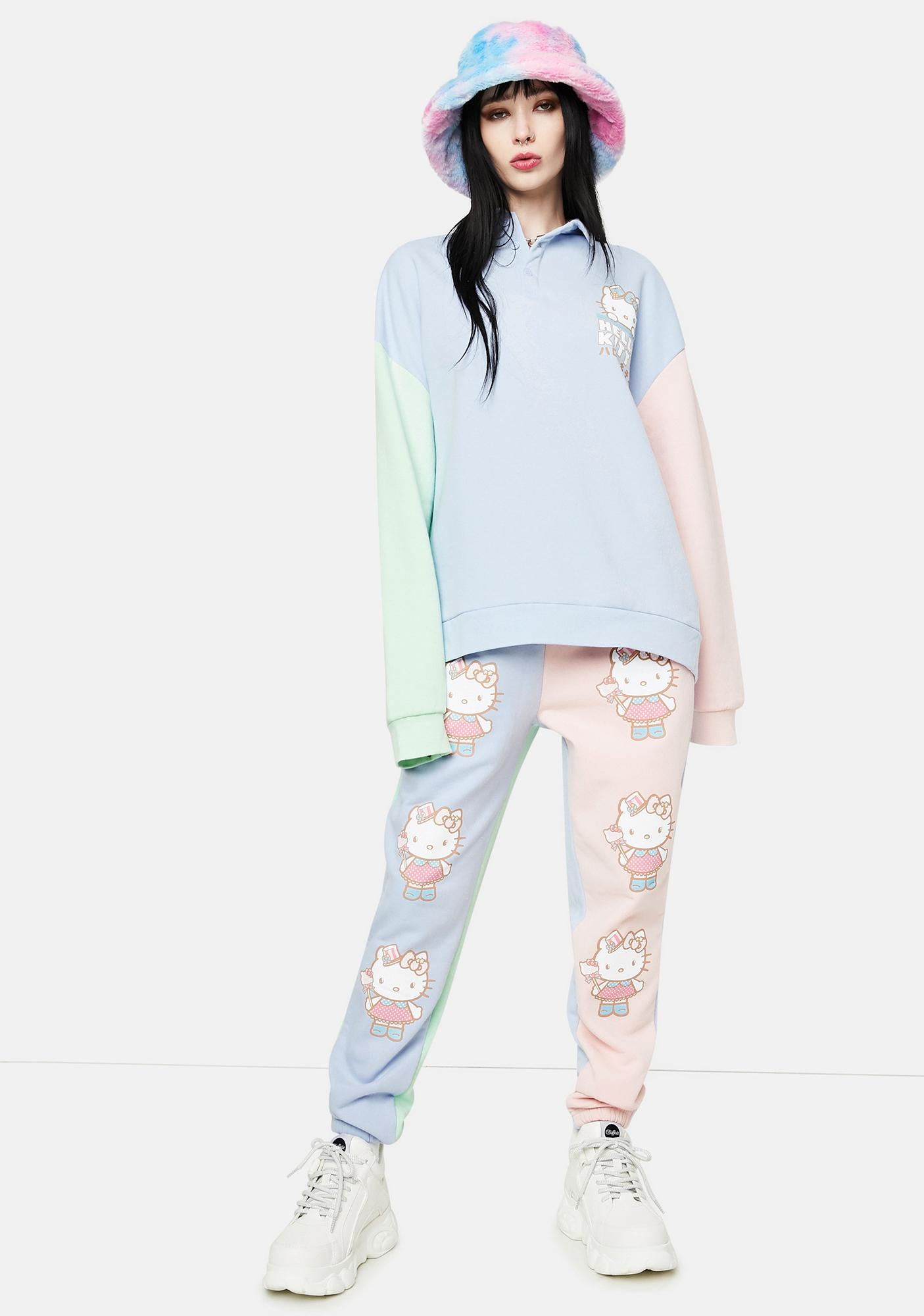 NEW GIRL ORDER Hello Kitty Color Block Placket Sweater