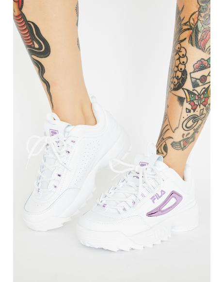 Lavender Disruptor 2 Metallic Accent Sneakers