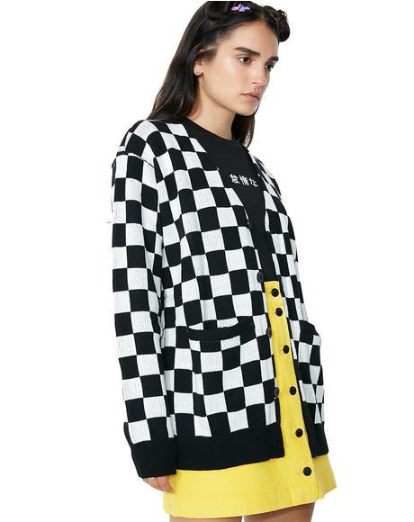 Mono Checker Cardigan