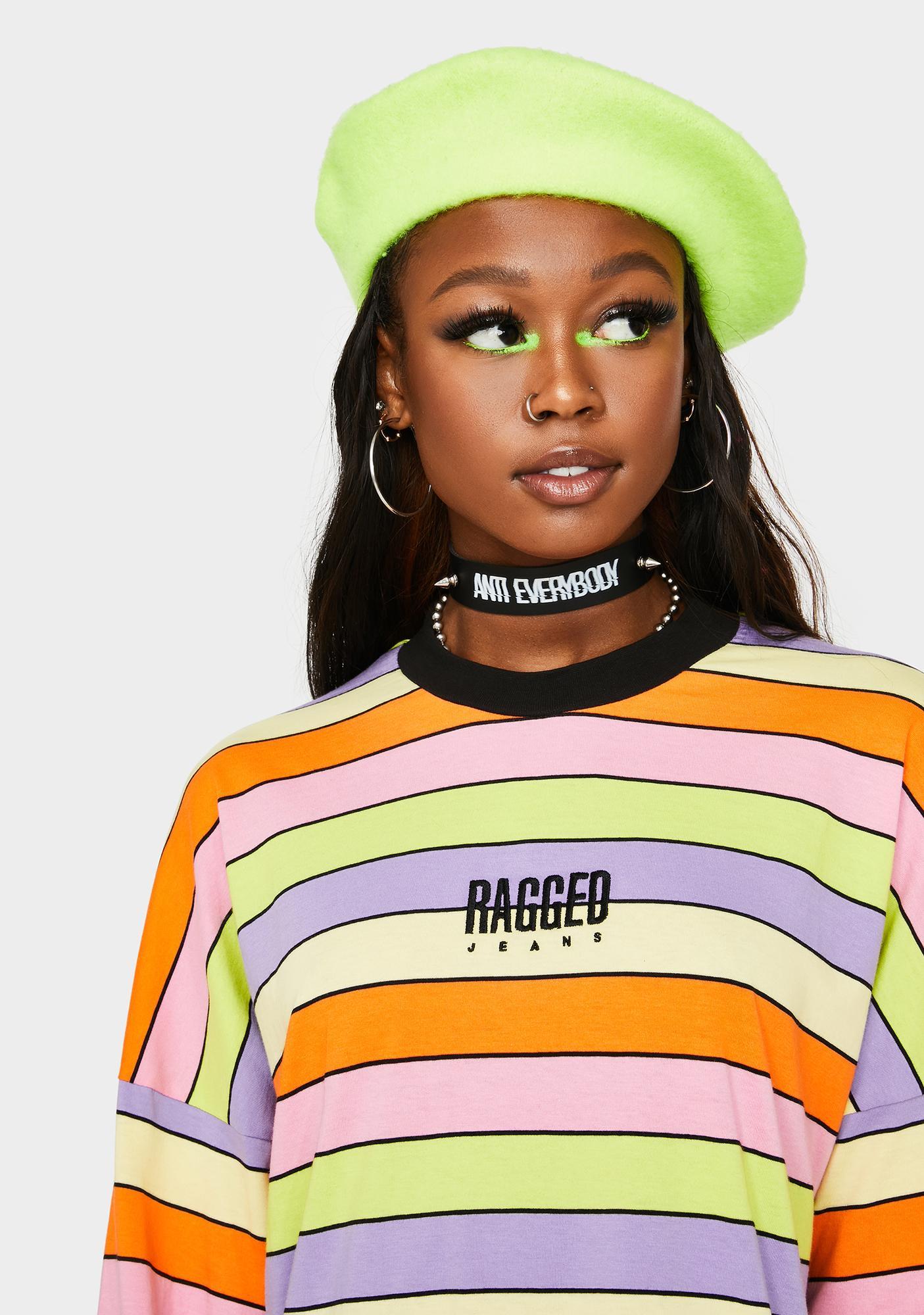 The Ragged Priest Rainbow Stripe Skater Dress