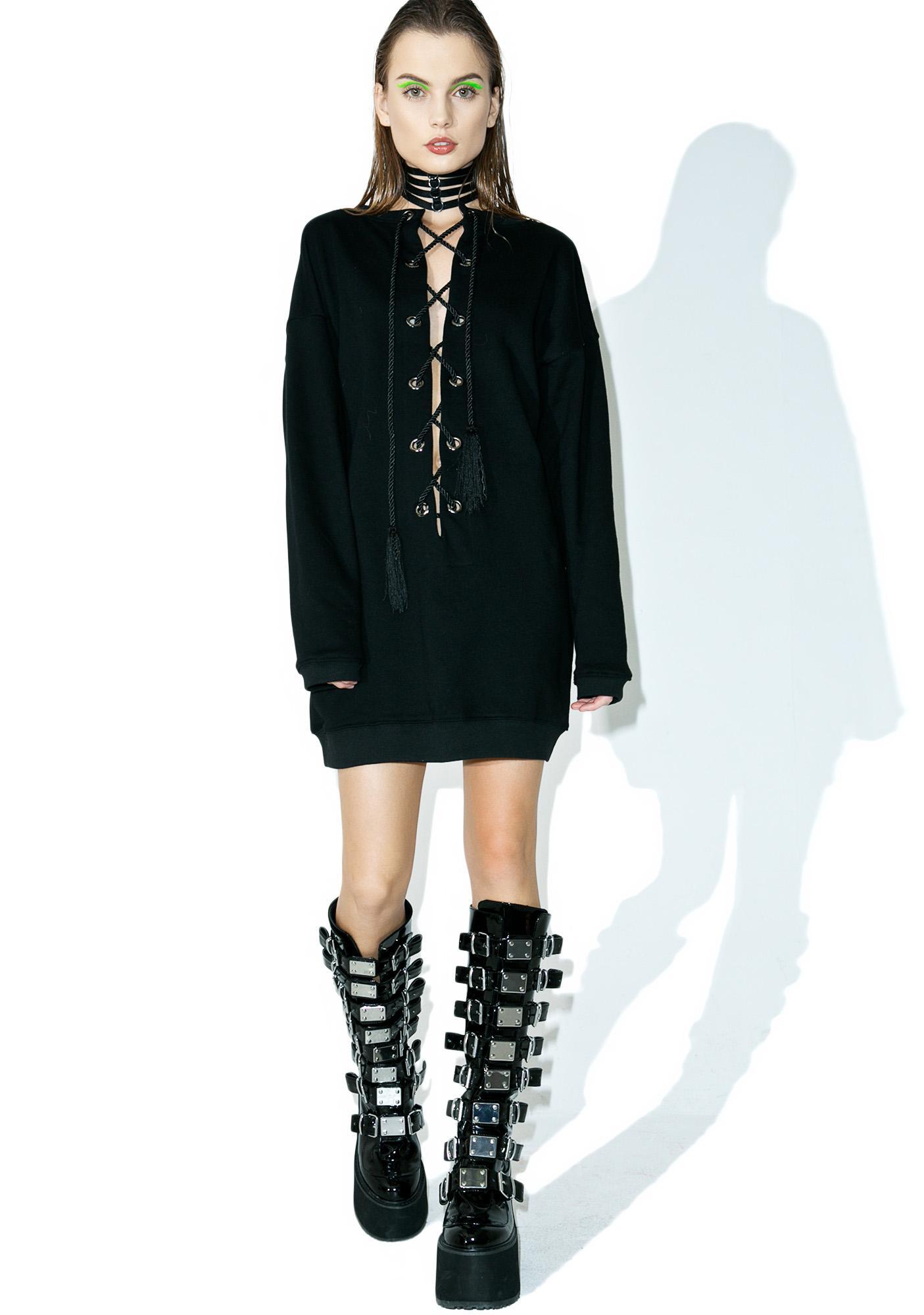 Azalea Lace-Up Sweater Dress