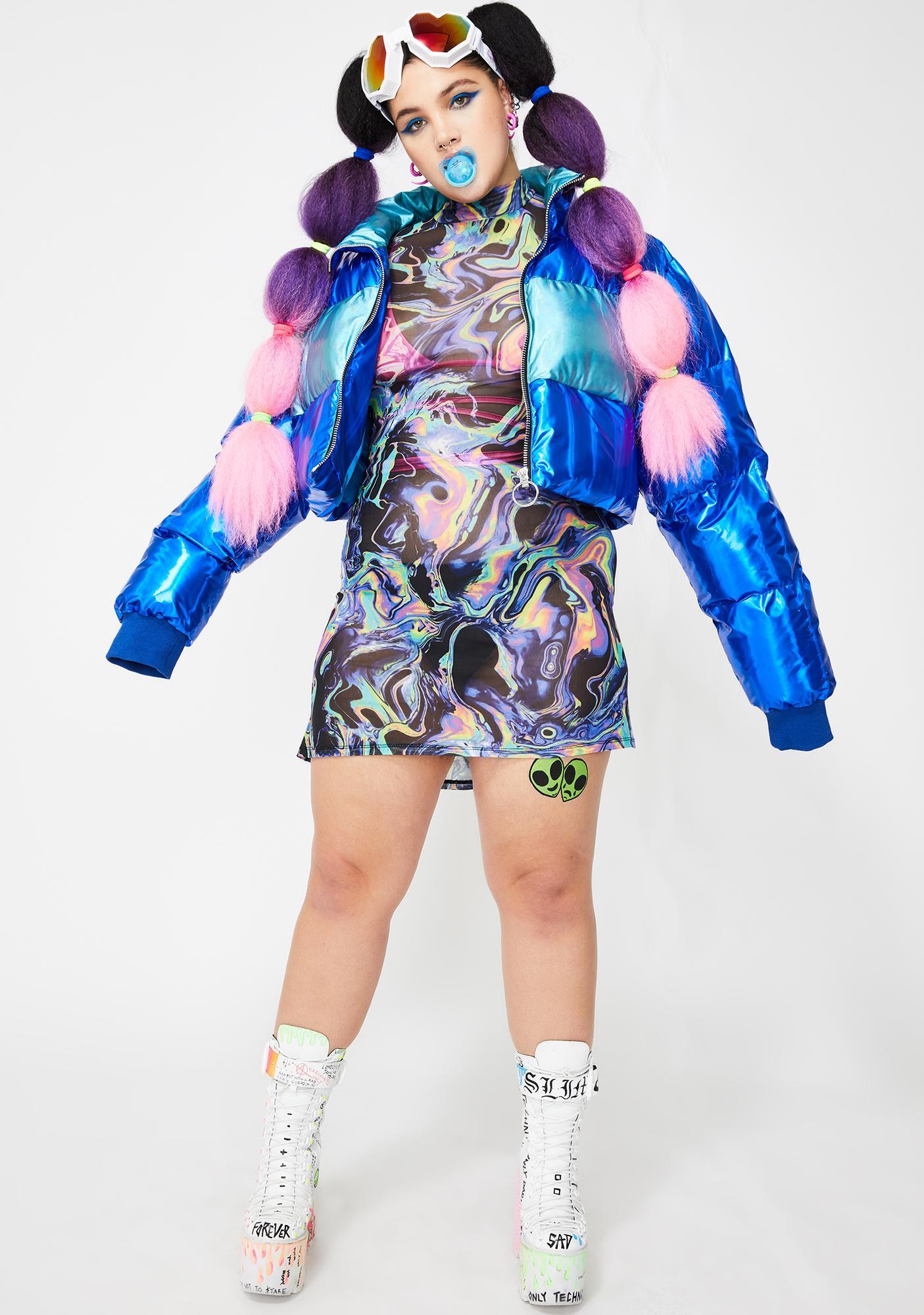 Club Exx Swirly Acid Dimension Mesh Dress