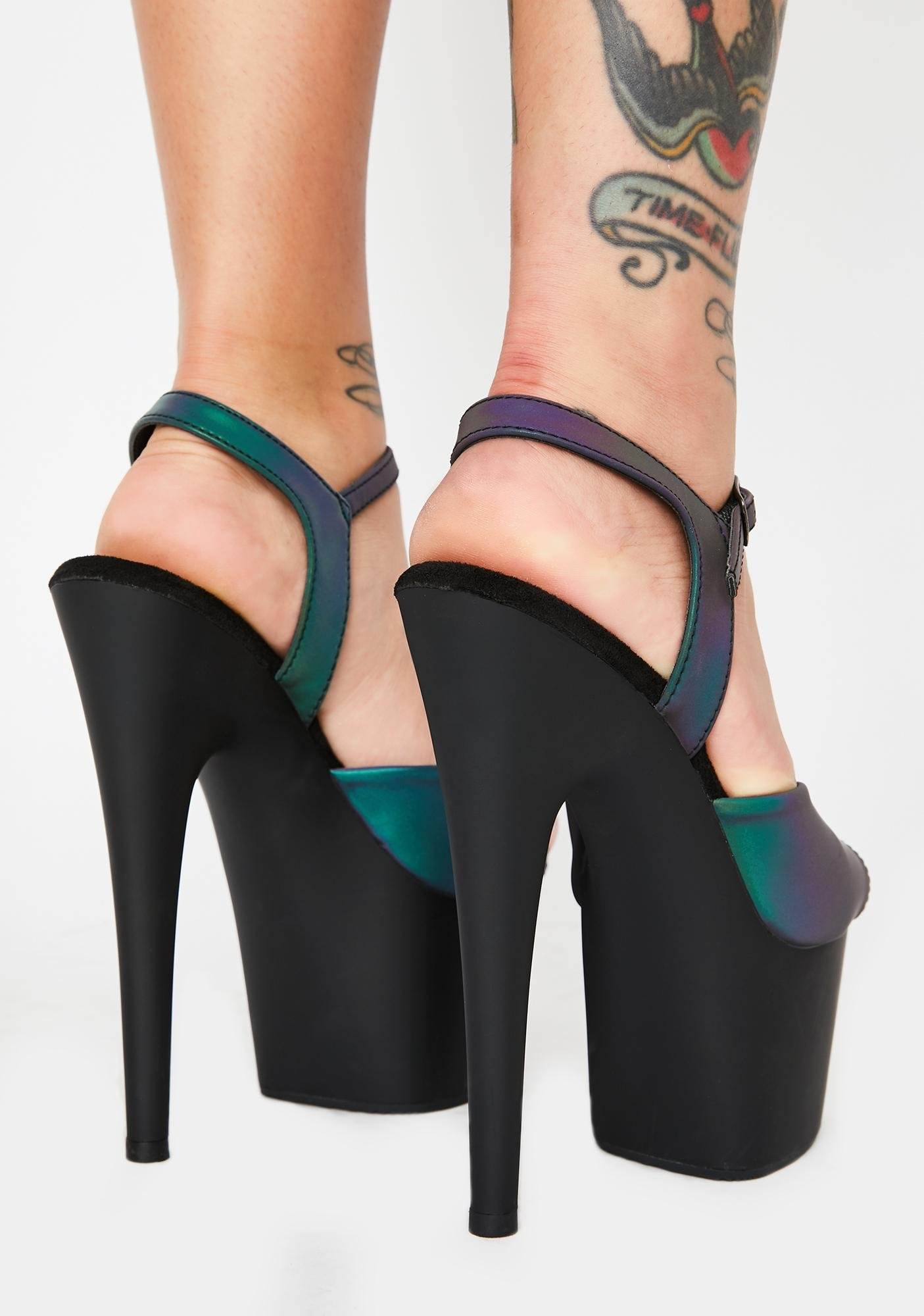 Pleaser Cash Kat Stacks Adore Reflective Platform Heels