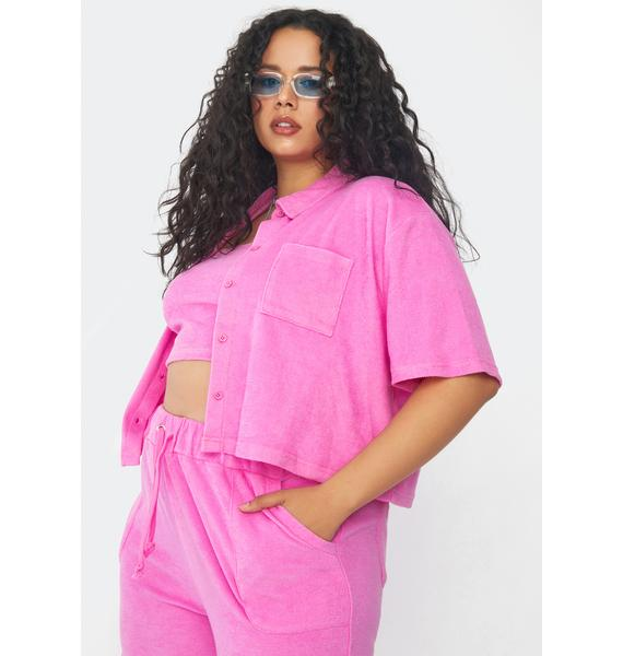 Current Mood Go Wild For A While Terry Cloth Shirt Set