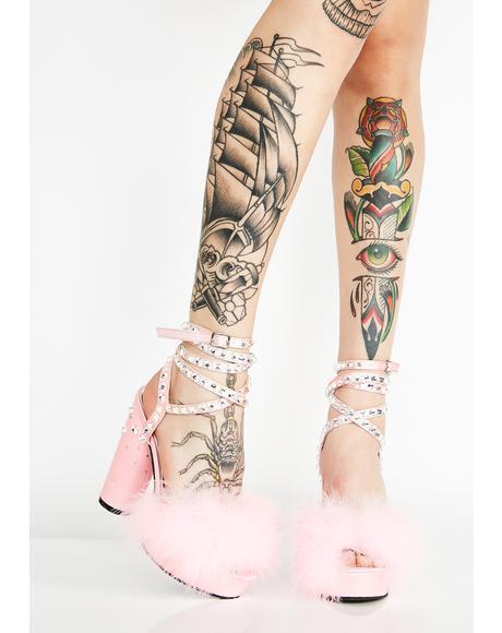 Rose Boudoir Baby Fluffy Heels