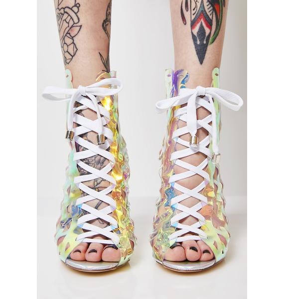 Holo Caged In Lace-Up Booties
