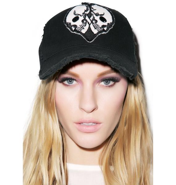 Lauren Moshi Jilly Skull Heart Patch Trucker Hat