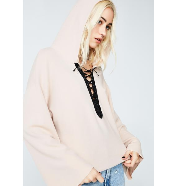 Glamorous It's A Long Story Lace-Up Hoodie