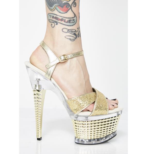Power N Gold Platform Heels