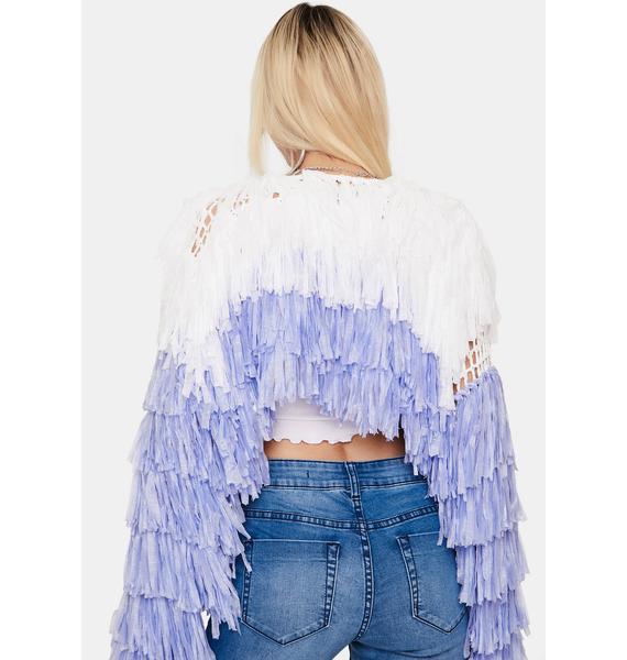 Lavender Shake It Off Fringe Jacket