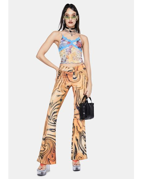 Tiger Swirl Print Bootcut Trousers