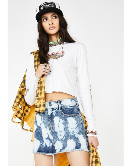 Bleached Out Vixen Denim Skirt