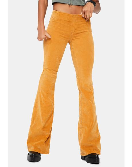 Suede Suntan Pull On Corduroy Flares