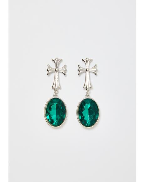 Verdant Skies Cross Earrings