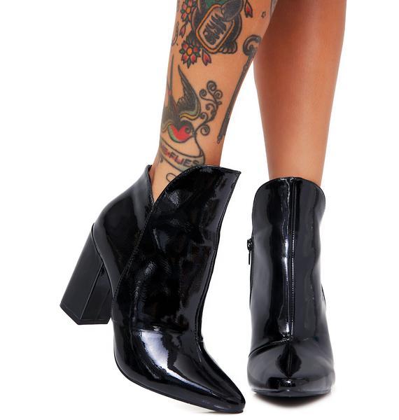 Midnight Mojo Jojo Patent Leather Booties