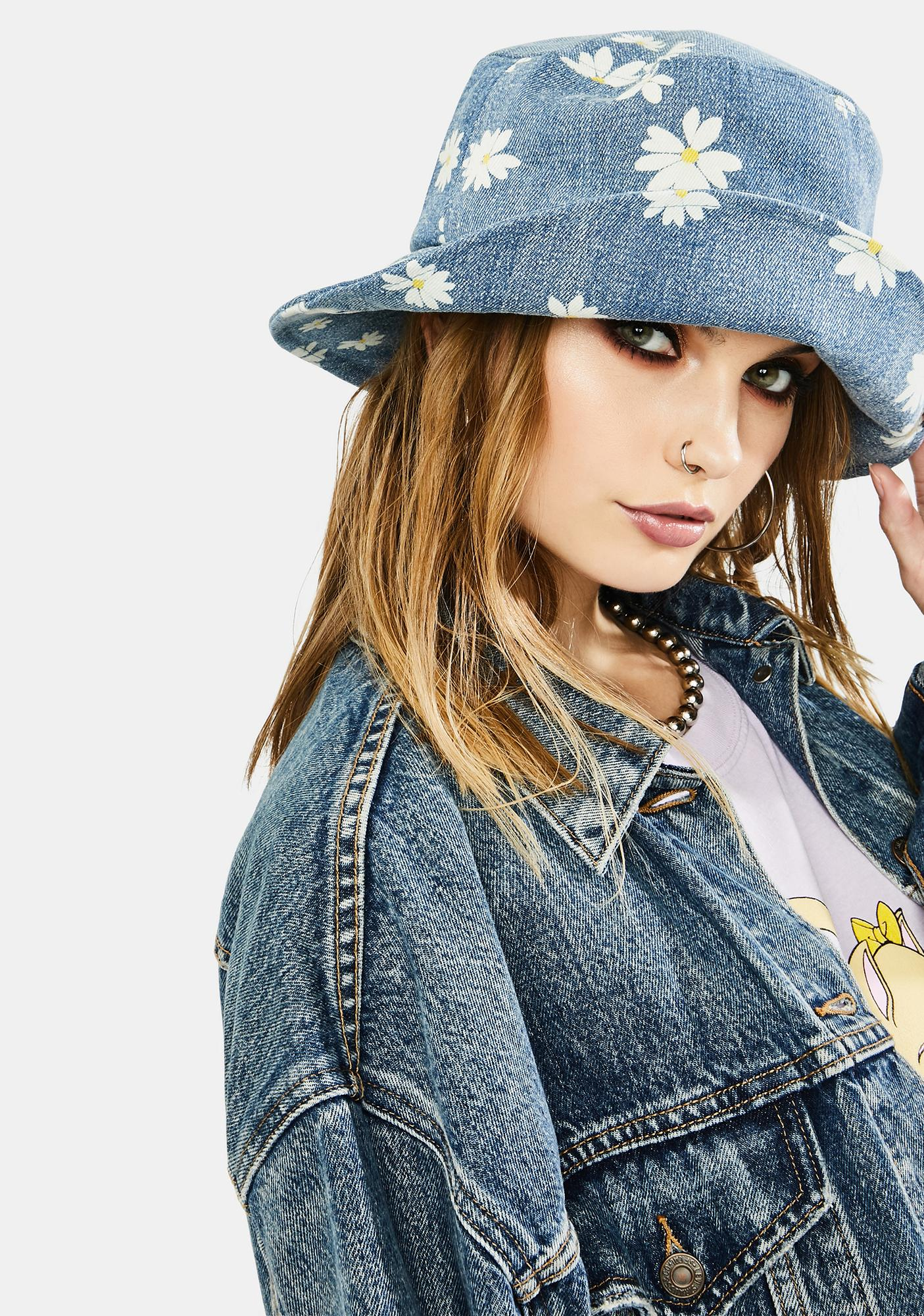 Flower Girl Denim Bucket Hat
