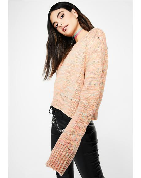 Just Peachy Rainbow Sweater
