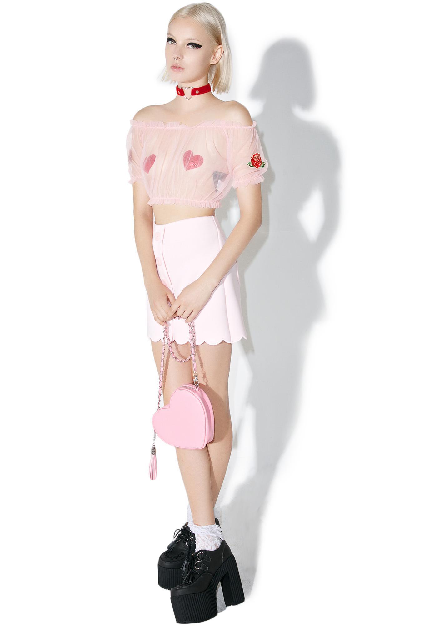 one spo Sweet Sheer Rose Crop Top