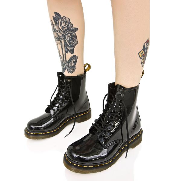 Dr. Martens Black Patent 1460 8 Eye Boots