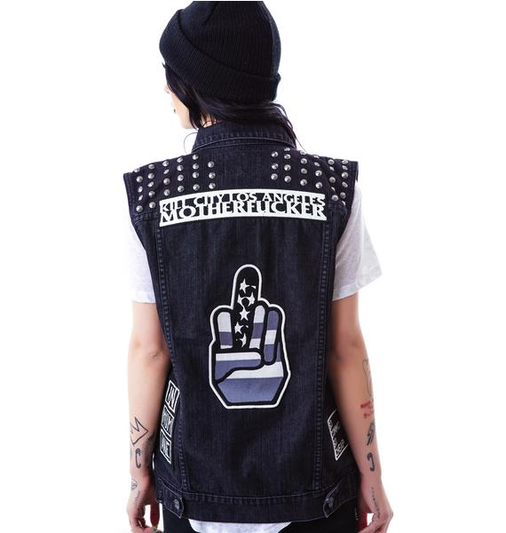 Kill City False Hope Studded and Patched Trucker Vest