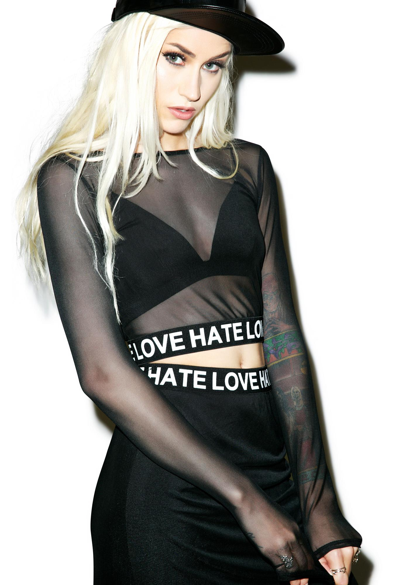 Hate Love Mesh Crop Top